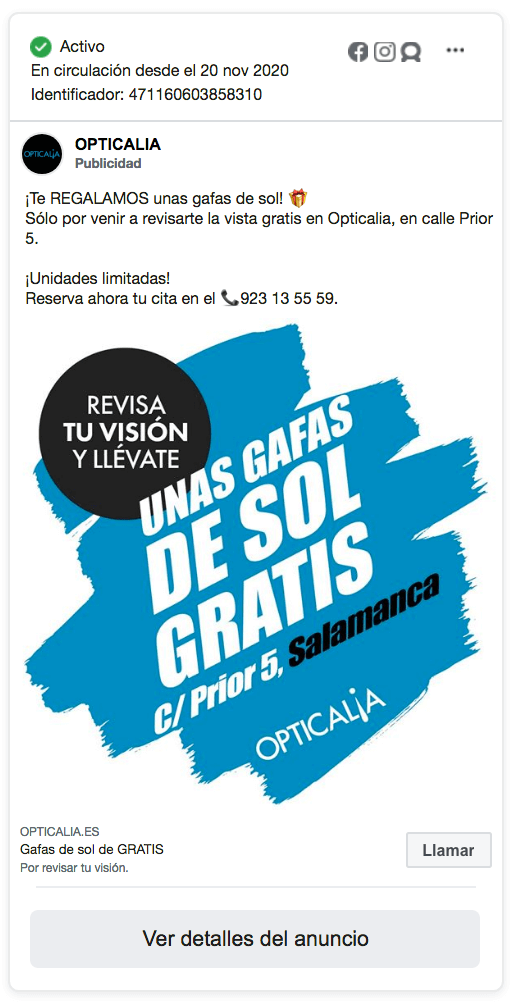 anuncio facebook ads opticalia