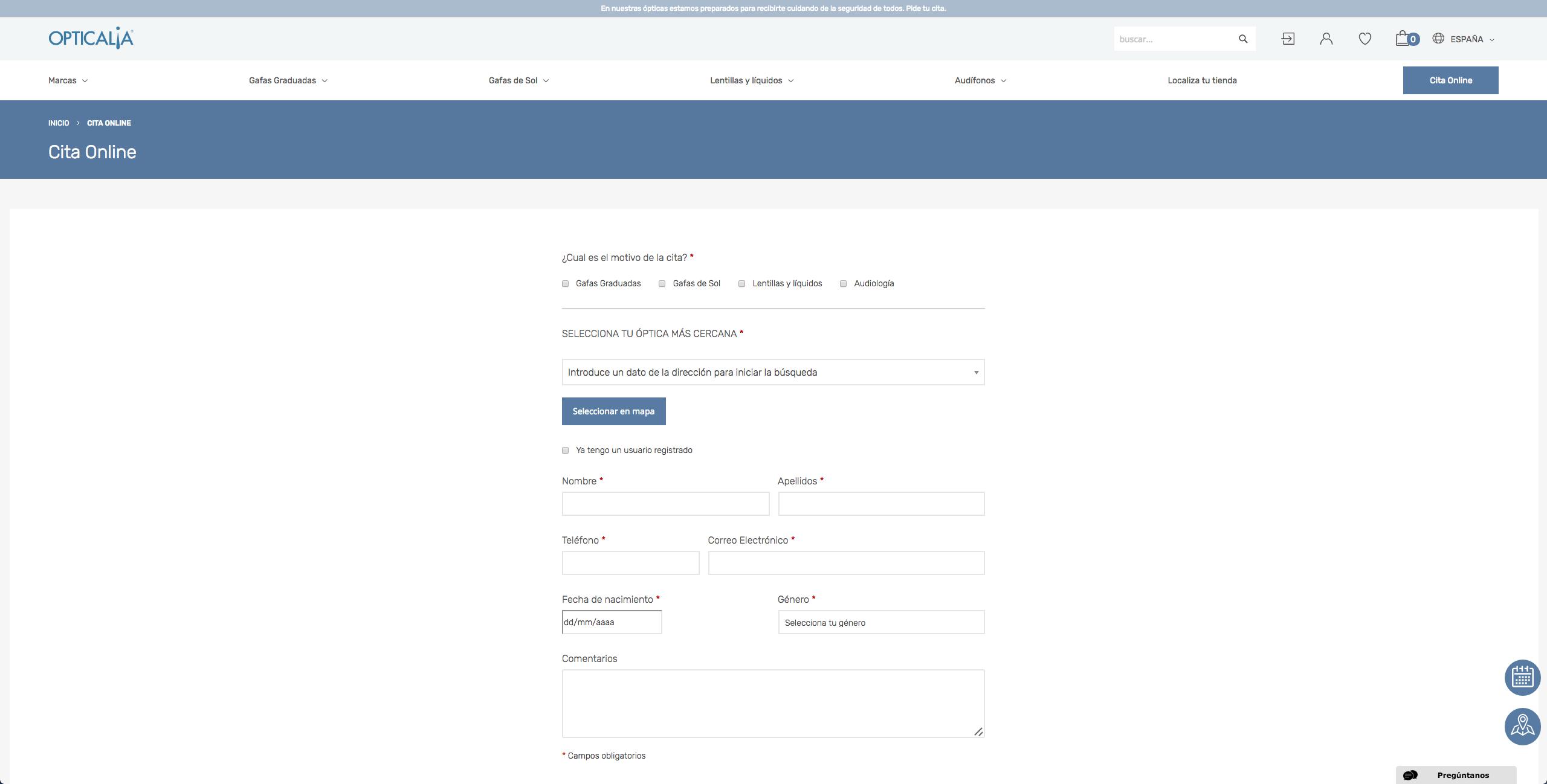 formulario pedir cita revision vista opticalia