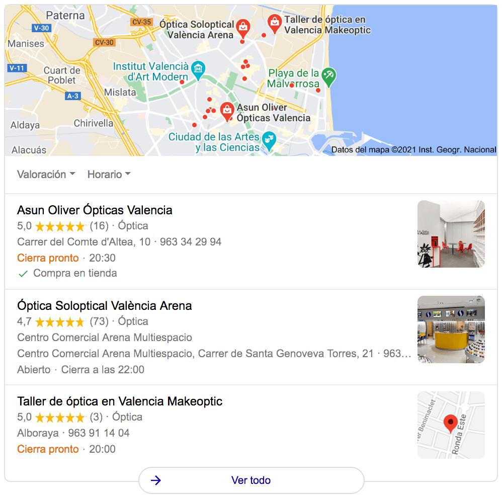 google maps busqueda opticas valencia