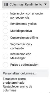 personalizar columnas administrador anuncios facebook