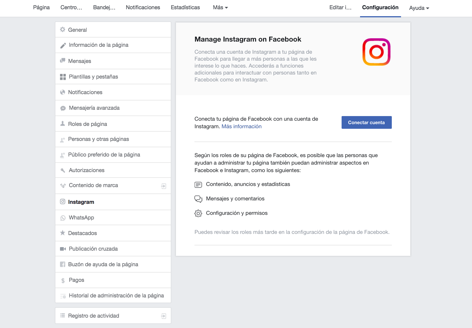 vincular cuenta instagram a pagina facebook